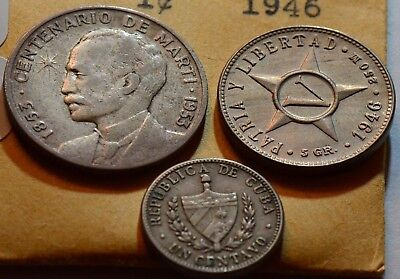 C0005 Caribbean 1953 , 1946, 1946, 25 5 1 Centavos combine shipping