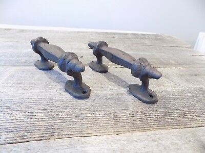 2 Handles Rustic Cast Iron Antique Style Barn Gate Pulls Drawer Door Shed Fence
