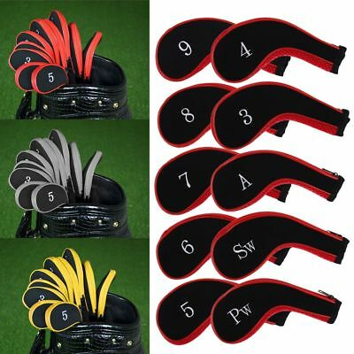 10Pcs/Set Padded Golf Club Iron Head Covers Protector Case Sock Kit