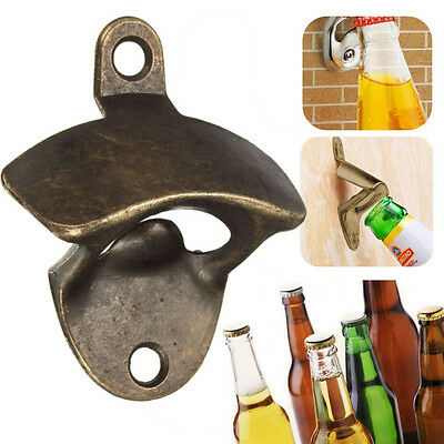1* Retro Bronze Wall Mounted Beer Bottle Opener Bar Home Opening Tool Top