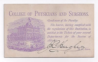 PRACTICE OF SURGERY Medical Lecture Ticket SIGNED Iowa CIVIL WAR Surgeon General
