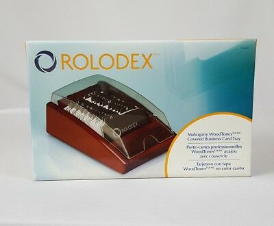 Rolodex Woodtones Vcard Covered Tray Mahogany ROL1734240 NIB Office Business
