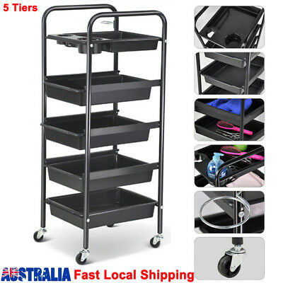 5 Tiers Hairdresser Salon Spa Multi Functional Hair Trolley Rolling Storage Cart