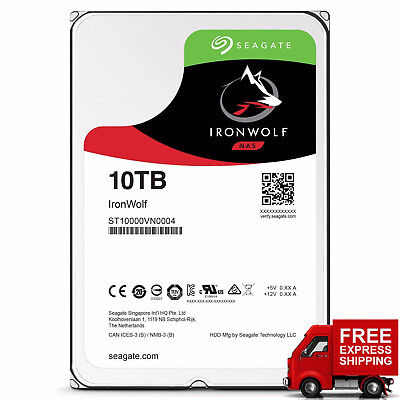"Seagate IronWolf 10TB NAS Hard Drive HDD 3.5"" SATA 6Gb/s 7200rpm 3Yr Warranty"