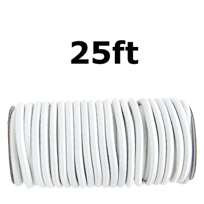 "25ft 1/4"" White Shock Cord Marine Grade Bungee Heavy Duty Tie Down Stretch Rope"