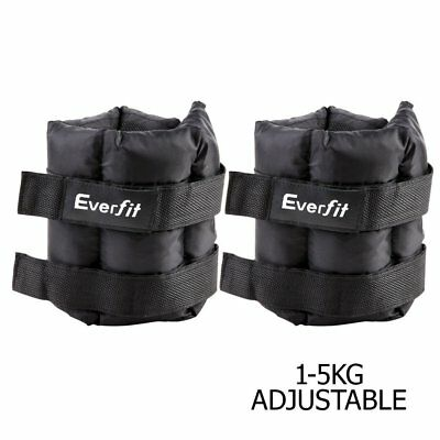 2x 5kg Ankle Weights Fitness Adjustable Strap Gym Training Wrist Yoga Workout