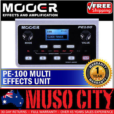 New Mooer PE100 Portable Electric Guitar Multi Effects Unit