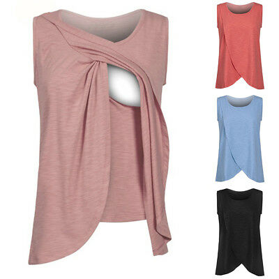 Sleeveless Breastfeeding Nursing Tops Maternity Clothes for Pregnant Women New