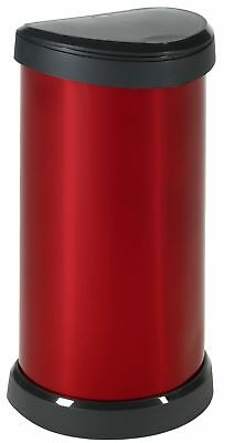 Curver 40 Litre Metal Effect One Touch Deco Bin Red Deco Bin 40L-Red