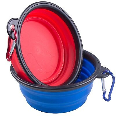 Travel Dog Bowl ZWOOS 2-pack Collapsible Cup Dish for Pet Cat Food Water Feed...