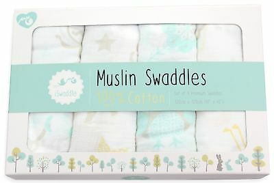 Pack of 4 x Large Unisex 100% Soft Cotton Baby Muslin Swaddle Blankets - 120c...