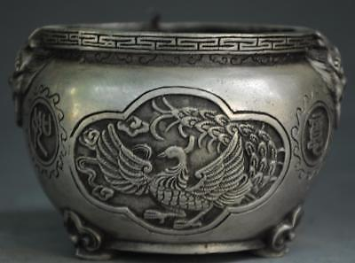 Chinese antique Tibet silver hand engraving Dragon phoenix pattern pot