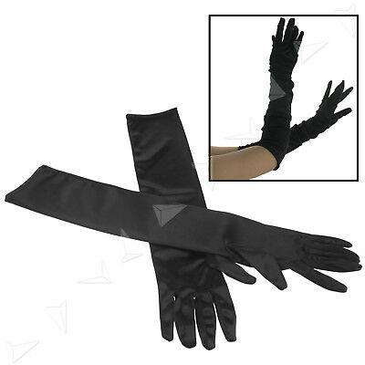 Pair of Black Sexy Long Elbow Gloves Flapper Opera Gothic Satin Fancy Dress