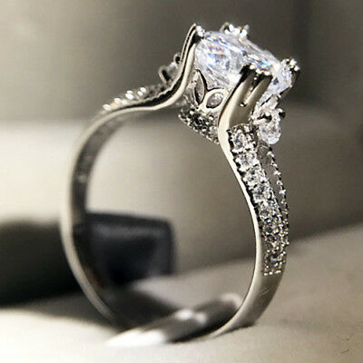 Silver 2 Carats Round Stone Women's Crown Wedding Bridal Engagement Ring R132
