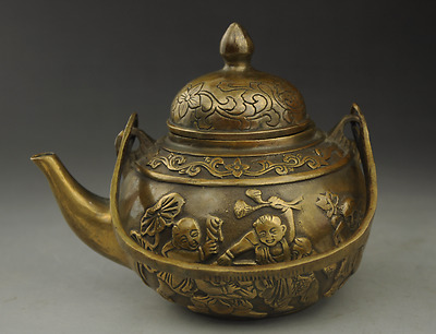 Chinese antique hand engraving brass child statue teapot