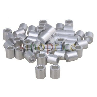50pcs Silver Round Ferrule Sleeves Clamp Aluminum Clip For 5mm Dia Wire Rope