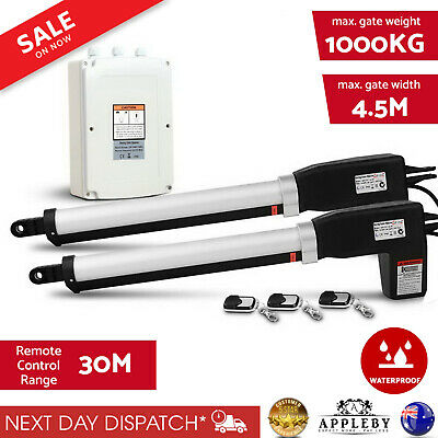 Automatic 2 Arm Swing Gate Opener Electric Kit 3 x Remote Controls 500kgs New