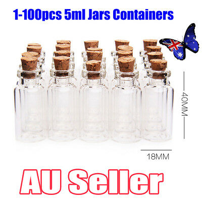 1-100x Clear Mini Small Cork Stopper Tiny Glass Vial Jars Containers Bottle Bulk