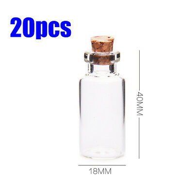 20X5ml Clear Mini Small Cork Stopper Tiny Glass Vial Jars Containers Bottle Bulk