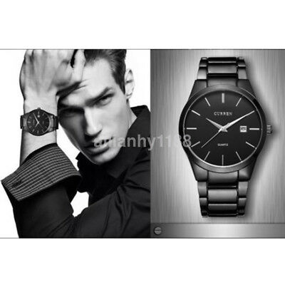CURREN Fashion Military Stainless Steel Analog Date Quartz Men Wrist Watch US