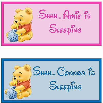 Winnie the pooh personalised baby wooden handmade sign christmas gift idea