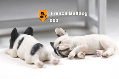 French Bulldog white & Black sleep Hand Painted Resin Figurine Statue A pair