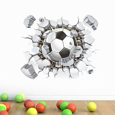 3D Wall Stickers The World Cup Football Breaking the Wall home decals for Kids