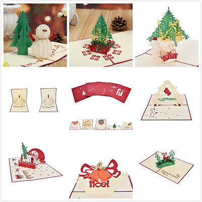 A variety of styles 3D Pop Up Christmas Handmade Greeting Cards Happy New Year