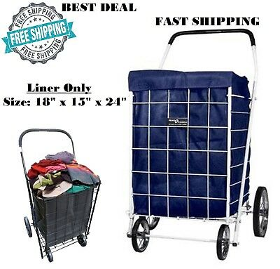 Shopping Cart Liner Folding Grocery Basket Laundry Bag Jumbo Rolling Utility New