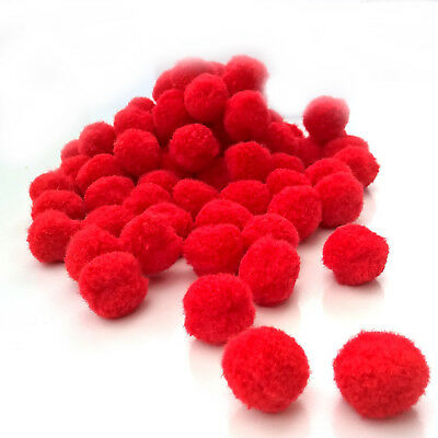 "Red Pom Poms for Christmas Craft - Size 25mm (1"") - Pack sizes from 50 to 200"