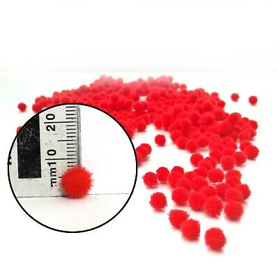 Red Pom Poms for Christmas Craft - Size 8mm - Choose pack size 50 to 500