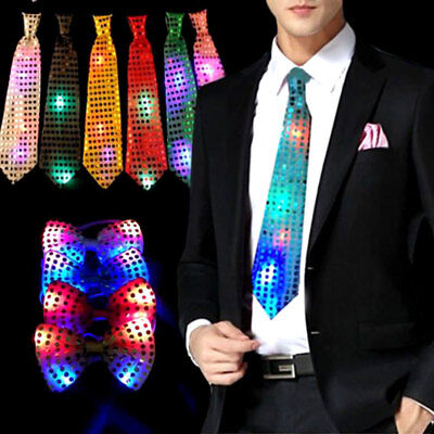 Flashing Light Up LED Bow Tie Necktie Party Sequins Wedding Christmas Gifts