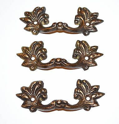 """Antique Drawer Pull Cast Brass Ornate French Provincial  2 1/4"""" Center L16"""