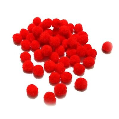 15mm Red Pom Poms in Packs of 50 to 250 Pompoms xmas craft reindeer sweet cone