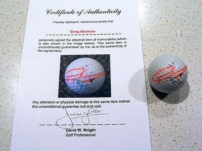 Greg Norman Signed Golf Ball with Certificate of Authenticity