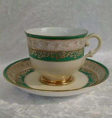 Vintage Art Deco Meito Tea Cup Saucer Green Gold Moriage 30s Japanese #1172