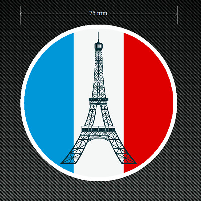 2 x FRANCE ROUNDAL Stickers/Decals 75mm Dia Printed and Laminated EIFFEL TOWER