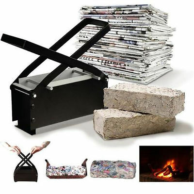 New Brick Briquette Maker Paper Log Fire Free Eco Recycle Newspaper Fuel Block