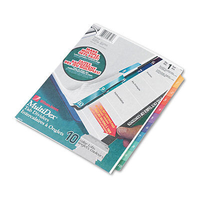 Wilson Jones Multi-Dex Quick Reference Index Assorted Color 10-Tab Letter 54710