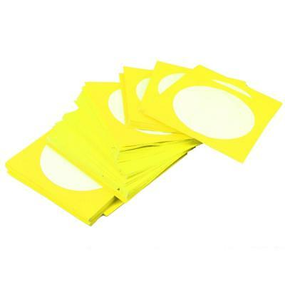 100pcs DJ CD DVD Plastic Pouch Sleeve Wallet Cover Case Storage Case Yellow