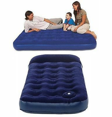 New Blue Inflatable Portable Air Mattress Blow Up W/builtin + Without Pump