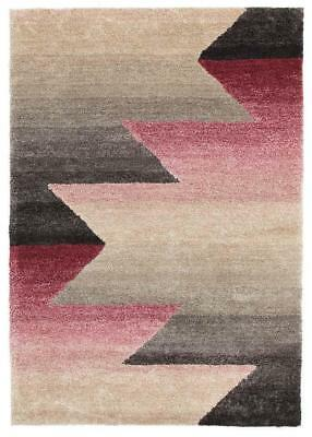 Penny Pink Grey Textured Multi Coloured Rug Shag Rugs Floor Carpet Home