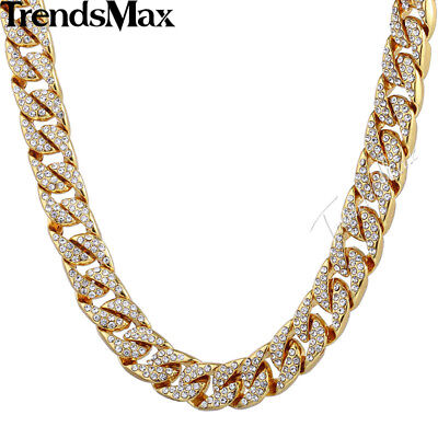 Trendsmax 14mm Bling Hiphop Iced Out Larry Cuban Or-couleur Collier w Pavée E...