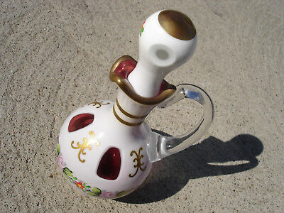 Old Vintage Bohemian Czech Republic Cranberry Enamel overlay Cruet Never Used A1