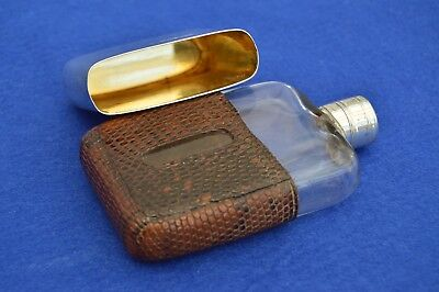 Antique Victorian Crocodile Leather & Solid Silver Hip Flask 1890 - vintage