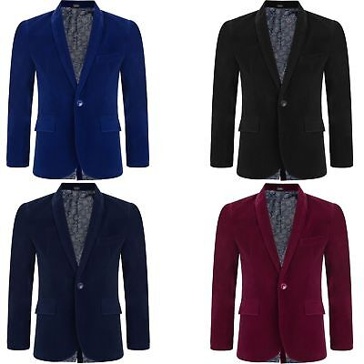 Baby and Boys Velvet Blazer Jacket Black Navy Blue Red Maroon 1 Year to 15 Year