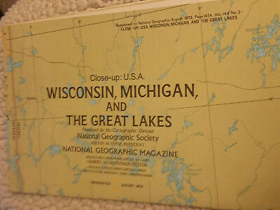 Vintage Insert National Geographic Magazine Wisconsin, Michigan, and Great Lakes