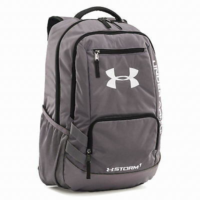 New Under Armour Grey Team Hustle II Backpack Team School Book Bag 1272782-040