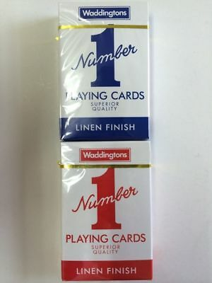 Waddingtons Poker Number 1 Linen Finish Superior Quality Playing Cards X 2
