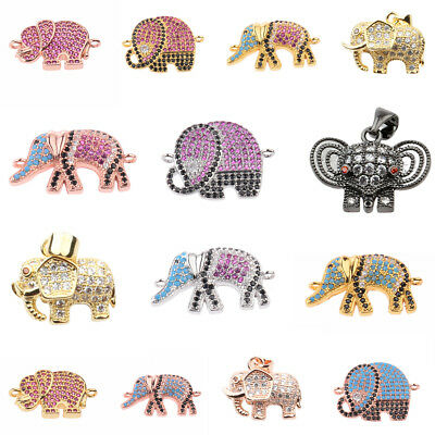 Fashion Copper Plated Elephant Connector  Rhinestone Bead Diy Charm Bracelets
